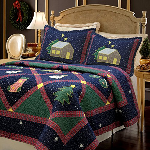 Christmas Night 3-Piece Bedding Quilt Set with 2 Standard Sham, Reversible Cotton Coverlet Bedspread, Machine Washable. (Christmas Night, Twin - 2 Piece)