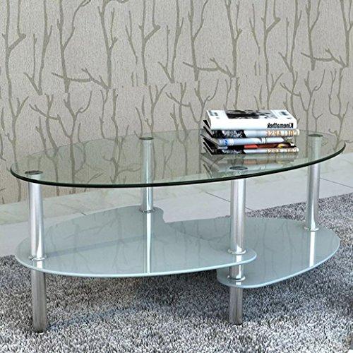 Tidyard Mesa de Centro con Diseño Exclusivo de 3 Niveles Mesa de Cristal Mesita de Noche Mesa de Café de Vidrio para Estar o Dormitorio Vidrio Templado 90x45x43cm Blanco