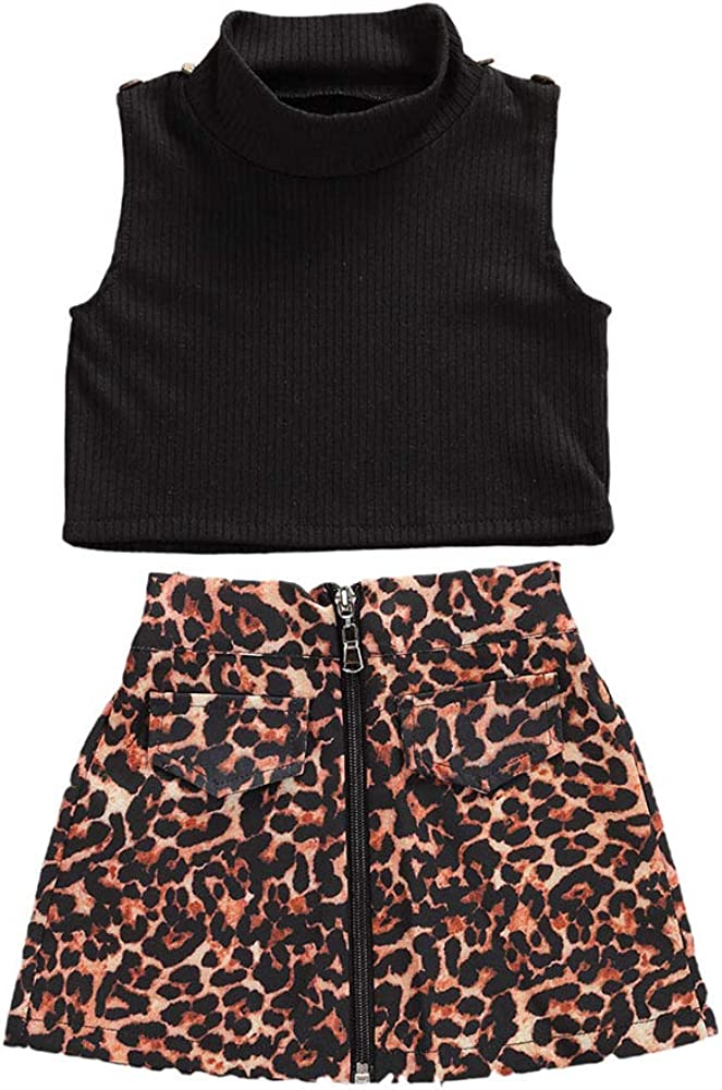 Litter Girls Skirt Set Black Sleeveless Very popular! Leop Vest Top Zipper and Long-awaited