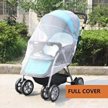 NESHE Baby Mosquito Net for Stroller , Infant Carrier , Carseat , Cradle , Bassinet , Playard and Crib - Universal Size Umbrella and Jogging Stroller Bug Net (White)