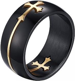 comprar comparacion JewelryWe 2016 Anillos Hombre Negro Dorado, 8mm Acero Inoxidable, Doble Cruz Desmontable Anillos Religiosos Original Único...