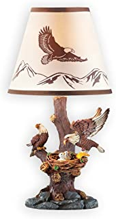 Collections Etc Sculpted Resin Eagle Family Table Lamp Décor - Woodland Decoration for Any Room in Home