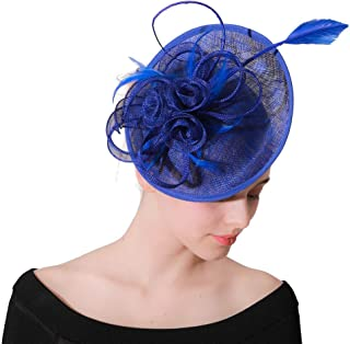 Vintage Sinamay Fascinators Hair Clip Headband hat, Feather Flower Cocktail Wedding Tea Party Hat for Women Girl
