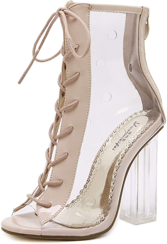 Women Gladiator Sandals PVC Clear Block High Heel Transparent Boots Lace Up High Top Bootie Pumps Shose