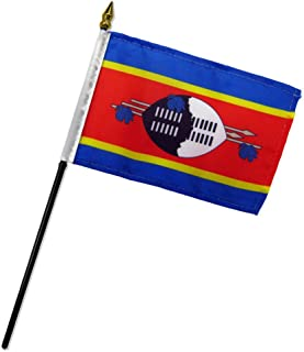 ALBATROS (6 Pack) Swaziland 4 inch x 6 inch with Stick for Desk Table Flag for Home and Parades, Official Party, All Weather Indoors Outdoors