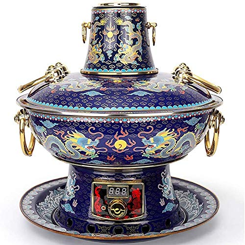 Cloisonné copper pure copper fondue marmite stainless steel hot pot electric cleaning coal double use fire family dinner