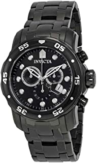 (Black Bracelet/Black Dial) - Invicta Men's 0076 Pro Diver Collection Chronograph Black Ion-Plated Stainless Steel Watch