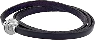 Sabrina Silver Quality Full Grain Leather Wrap Bracelet Stainless Steel Magnetic Clasp Assorted Colors 22.5 inch