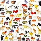 Animales De Juguete, Paquete De 64 Mini Animales de la Selva De Plástico, Juguetes Funcorn, Conjunto De Juguetes Realistas De La Jungla, Figuras De Animales Para Niño Niña Regalos Juguete Educativo