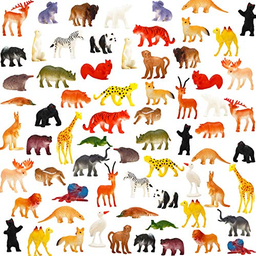 Animal Toy, 64 Pack Mini Wild Plastic Animals Models Toys Kit, Jungle Realistic Animal Figure Set for Children Kids Boy Girl Party Favors Educational Toy Birthday Game Classrooms Rewards