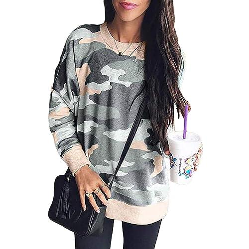 fa09fbf988 DOKOTOO Womens Camo Crew Neck Sweatshirt Long Sleeve Loose Jumpers Pullover