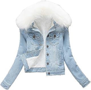 Women White Faux Fur Fleece Denim Short Jacket Thicken Jean Sherpa Coat