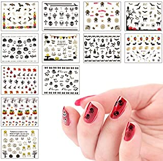 Biubee 3D Design Self Adhesive Halloween Nail Art Stickers- Halloween Nail Art Sticker Tattoo Decals Manicure Decoration for Fingernails, Nail Tips