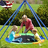 Flurries 👍 40'' 660lb Saucer Tree Swing Seat - Round Swing Set - Outdoor Safety Swing Flying for Kids Adults - Great for Playground Backyard Playroom (Ship from US!!!) (Colorful)