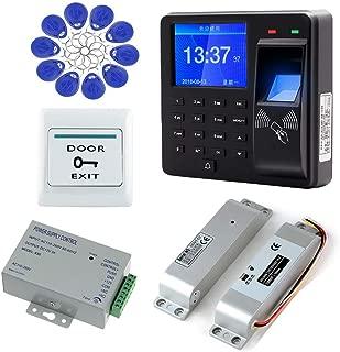 AMAO Kit de Sistema de control de acceso por huella digital Contraseña Teclado RFID 125KHz + Cerradura Eléctrica Cerradura de Perno Electrónico + DC12V Fuente de Alimentación, Asistencia de Máquina