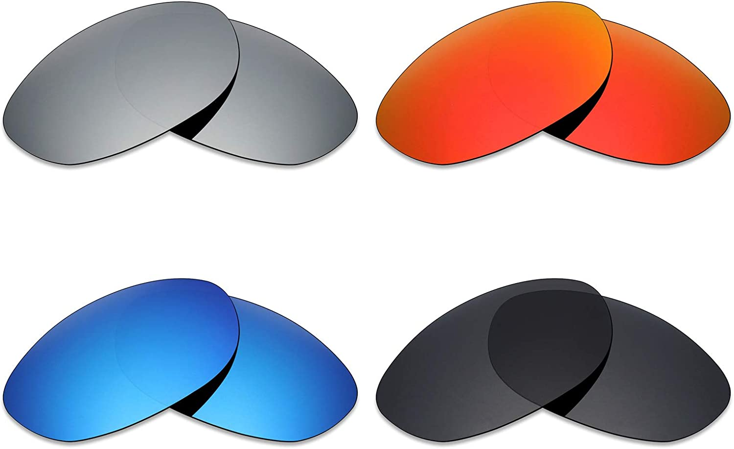 Mryok 4 Pair Polarized Replacement Lenses for Wiley X Airrage Sunglass  Stealth Black Fire Red Ice blueee Silver Titanium