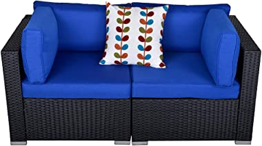 Outdoor Loveseat Patio Furniture Corner Sofa, 2 Piece Wicker Rattan Outdoor Sectional Sofa Set with Removable Royal Blue Cush