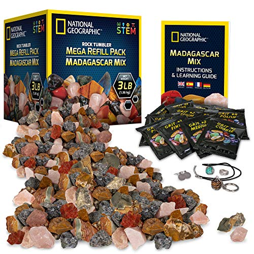 NATIONAL GEOGRAPHIC Rock Tumbler Refill – Mega Madagascar Gemstone Pack, 3 lb of Gemstones Including Rose Quartz, Jasper, Labradorite, & More, Tumbler Grit & Jewelry Settings