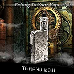 Ciberate® TG 120W E Cigarettes Sub-Ohm 0.15 2ml Tank Adjustable Airflow Electronic Cigarette Vape Box Mod Complete Kit Steampunk Style (120W kit) #4