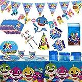 Tiburón Conjunto de Suministros de Fiesta, 110 PCS Azul Decoraciones de Cumpleaños para niños, Cumpleaños Bandera Señales Sombrero de Papel Mantel Platos Tazas Cuchillos Tenedores Servilletas Pajitas
