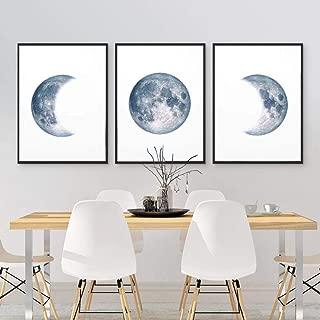 Die Mondphase Schwarz Wei/ß Poster Leinwand Kunstdrucke Nordic Wandkunst Abstrakte Malerei Wandbild f/ür Wohnzimmer Wohnkultur//50x150 cm-Kein Rahmen