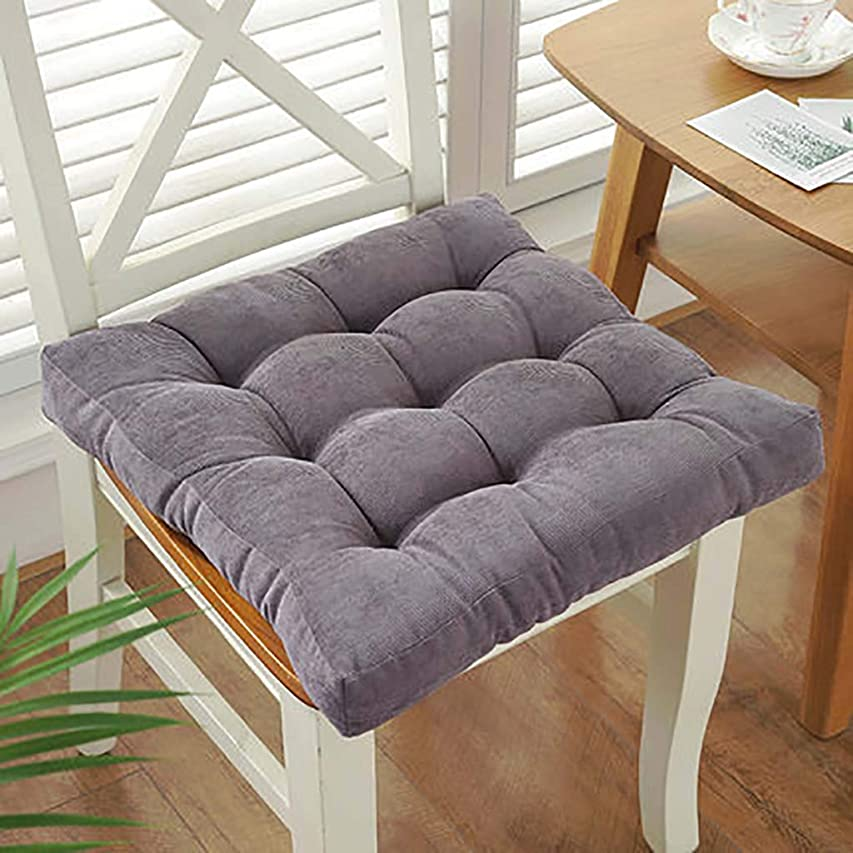 マトン蓄積するスラック厚く ブースタークッション,アンチ-スリップ 床 クッション スクエア 単色 チェアパッド クッション ホーム オフィス ダイニング椅子-グレー 40x40cm(16x16inch)