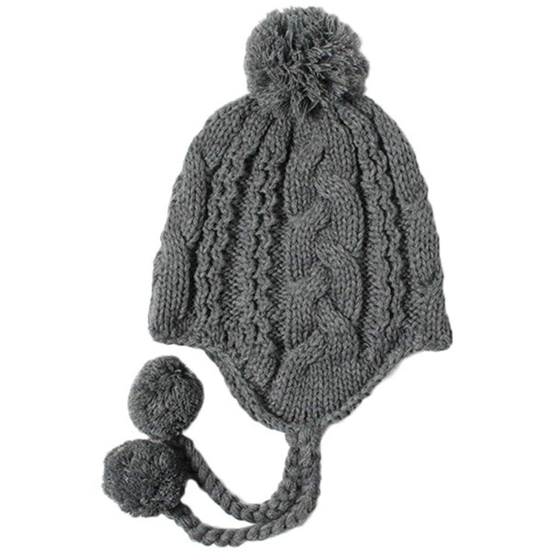 グリンバディ ニット帽 キッズ 耳あて付き ポンポン あったか 防寒 子供用 男の子 女の子 グレー NG-5031