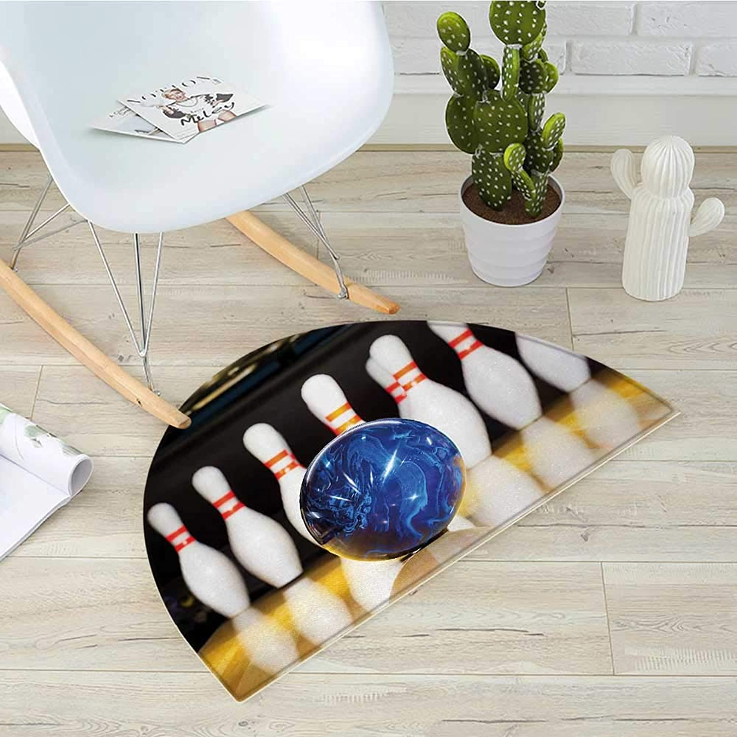 Bowling Party Semicircular Cushionbluee Abstract Ball on The Lane Pins Close Up View Sports Leisure Time Game Entry Door Mat H 39.3  xD 59  Multicolor