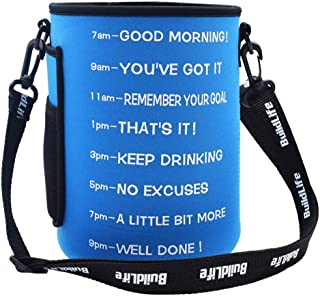 BuildLife Gallon/73OZ Water Bottle Sleeve with Time Marker for Measuring Your H2O Intake