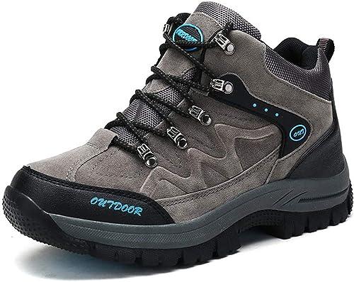 SELCNG Chaussures de randonnée Unisexes Chaussures de Marche imperméables Chaussures de Marche pour Hommes avec Chaussures de randonnée pour Sports de Plein air-gris-46