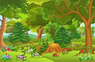Leyiyi Spring Cartoon Forest Scenery Backdrop 7x5ft Photography Backdrop Lush Green Grass Floral Blossoming Colorful Flowers Children Baby Girl Boy Personal Portraits Studio Props