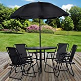 Marko Outdoor 6PC <span class='highlight'>Garden</span> <span class='highlight'>Patio</span> <span class='highlight'>Furniture</span> Set Outdoor Black 4 Seat Round Table Chairs & Parasol