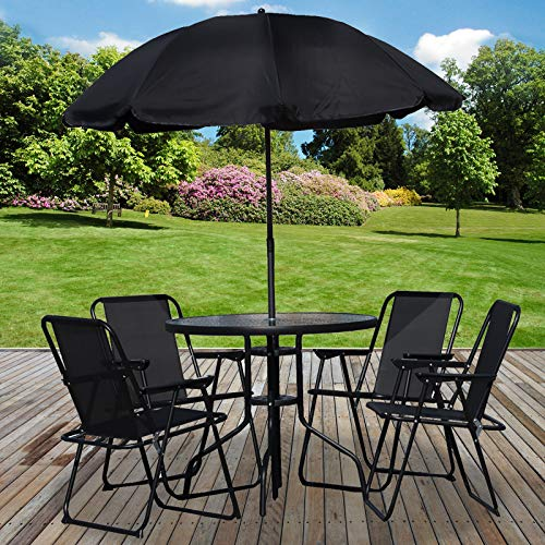 Marko Outdoor 6PC Garden Patio Furniture Set Outdoor Black 4 Seat Round Table Chairs & Parasol