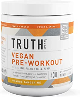 All Natural PreWorkout Powder- Plant Based, Keto & Vegan Friendly Pre Workout - Energy, Focus & Performance - Boost Muscle Strength & Endurance- Truth Nutrition (30 Servings - Orange Tangerine)