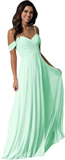 Women's Off The Shoulder A Line Bridesmaid Dress Long Ruched Prom Evening