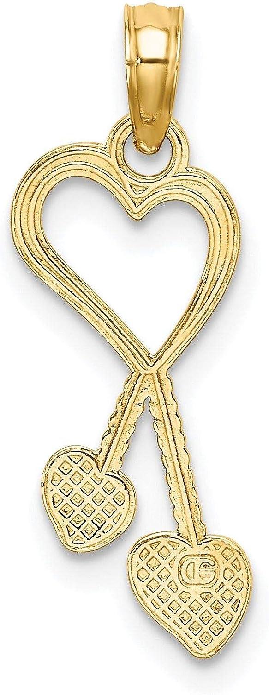 14K Gold 2-D Heart With Double Heart Beaded Tassle Charm Pendant