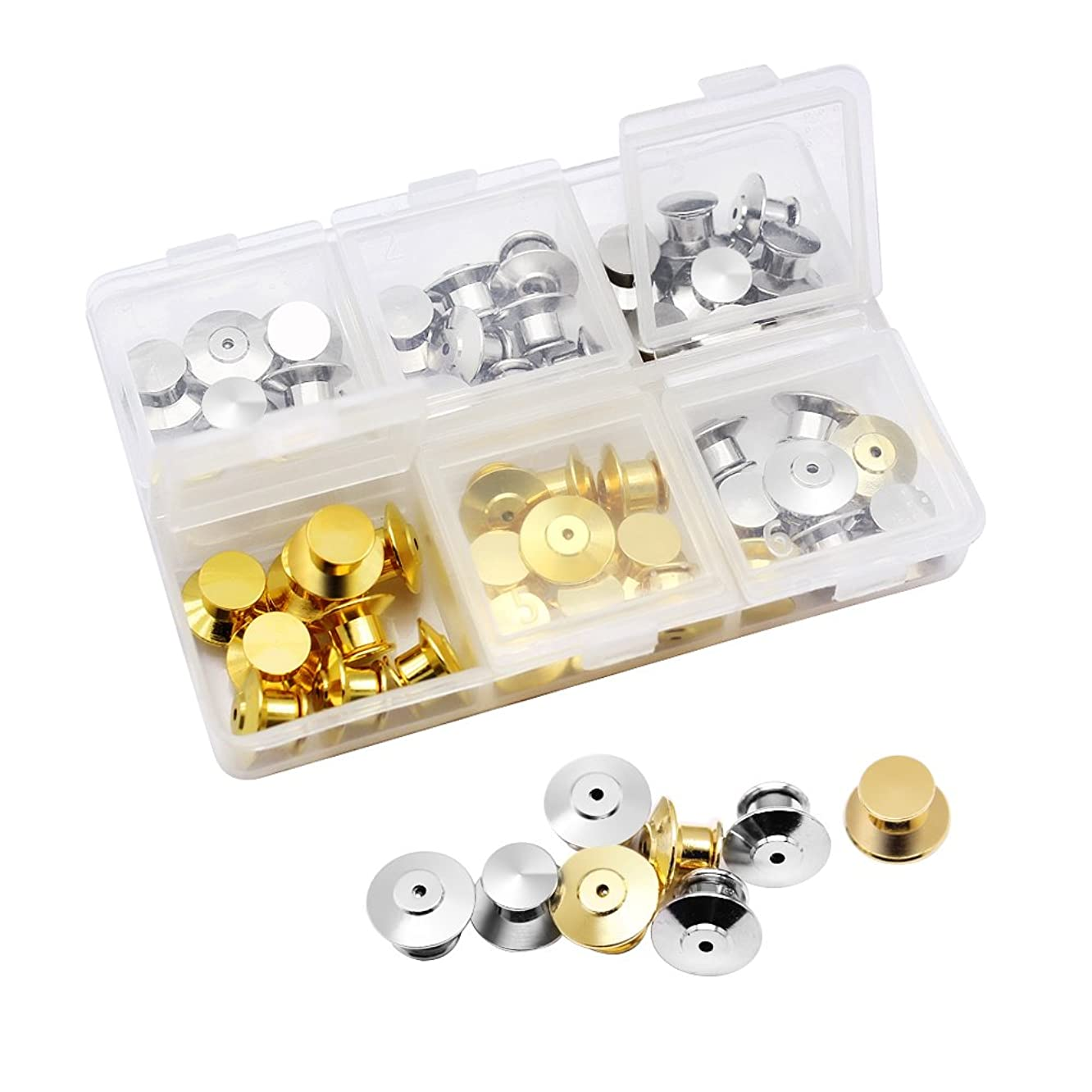 Hysagtek 50 Pcs Metal Locking Pin Backs Keepers Pin Locks Locking Clasp Replacement with Storage Case for Craft Making - No Tool Required, Silver and Golden
