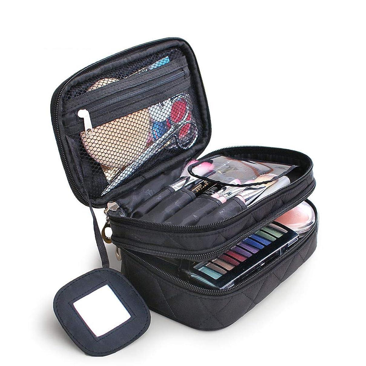 常習者逃れる詩化粧バッグ プロ 化粧箱 高品質 大容量 化粧品収納バッグ ウォッシュバッグ 防水化粧品ケースナイロンブラック化粧品袋収納袋