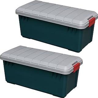 アイリスオーヤマ ボックス RVBOX 800 グレー/ダークグリーン 幅78.5x奥行37x高さ32.5cm 2個セット