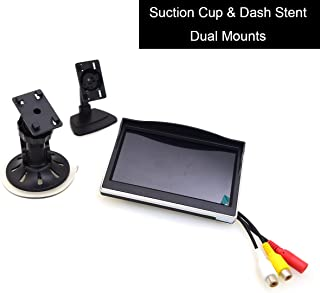 """5"""" Car Monitor, EKYLIN 12-24V Wide Input Truck/in-Car TFT LCD Screen Suction Cup & Dash Stand Dual Mounting Bracket 2 RCA Channel for Backup Camera/Rear View/DVD/Media Player"""