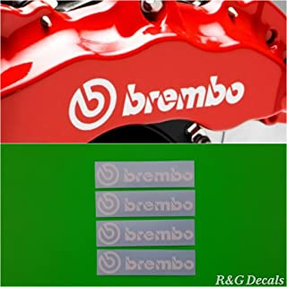 R&G Brembo HIGH TEMP Brake Caliper Sticker Set of 4 Decals (White)