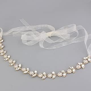 Ribbon Rhinestone Crystal Leaf Headband Bridal Wedding/Sweet Sixteen/Flower Girl/Quinceanera Crown Headdress Various Designs (Gold Crystal)