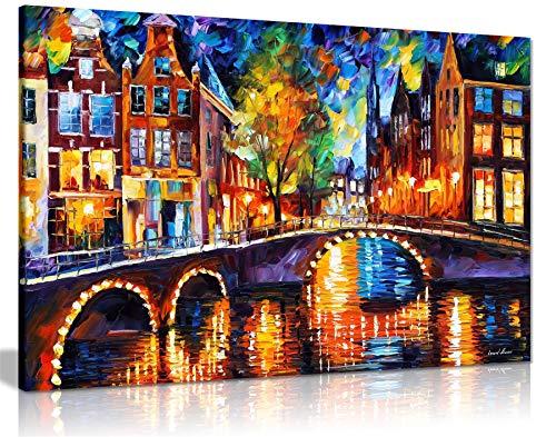 Leonid Afremov Ölgemälde auf Leinwand, abstrakt, für Wohnzimmer, Heimdekoration, The Bridges of Amsterdam, 61x41 cm (24x16in)