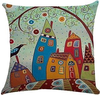 Fossrn Fundas Cojines 45x45 Árboles y Casas de Dibujos Animados Patrón Lino Funda de Almohada Decoración Sofa Hogar Cama (E)
