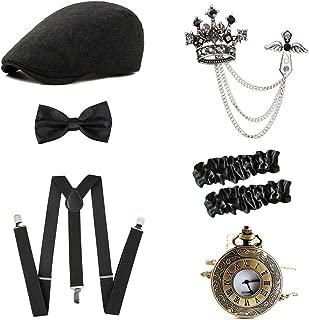 1920s Mens Great Gatsby Gangster Costume Accessories Set - Fedora Newsboy Panama Hats Suspenders Pocket Watch