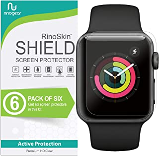 (6-Pack) Apple Watch 38mm Screen Protector (Series 3 2 1, Compatible Short Fit for 40mm Series 4) RinoGear Case Friendly iWatch Screen Protector for Apple Watch Series 3 38mm Accessory Clear Film