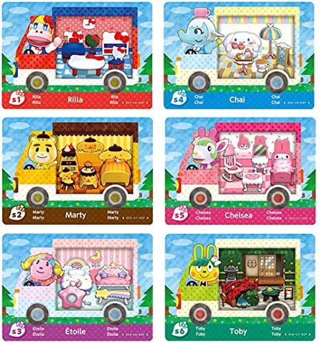 Akeicwel 6 Stück ACNH NFC Mini-Kartenpaket für Animal Crossing New Horizons Sanrio Minikarte für Switch/Switch Lite/Wii U