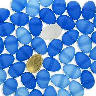 BestPysanky Set of 46 Blue Plastic Eggs + 1 White Egg + 1 Golden Easter Egg