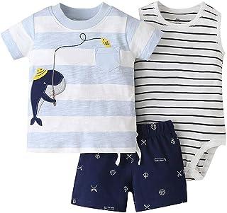3 Paquet Bébé Garçons Tenue Ensembles de Vêtements, Ensemble T-shirt + Short + Body pour Enfant 18-24 Mois