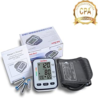 SEJOY BSP-12 Blood Pressure Monitor, Upper Arm Cuff for Standard and Large Arms, 2 User Memory Storage, Large Easy to Read Digital Screen, Batteries & Protective Travel Case Included …